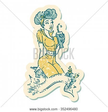 distressed sticker tattoo in traditional style of a pinup girl drinking a milkshake with banner