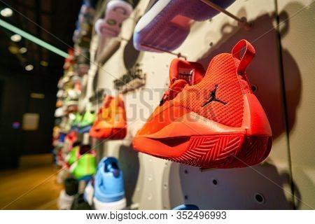 HONG KONG, CHINA - CIRCA JANUARY, 2019: closeup shot of Jordan footwear seen on display at a Foot Locker store in Hong Kong. Foot Locker Retail, Inc. is an American sportswear and footwear retailer.
