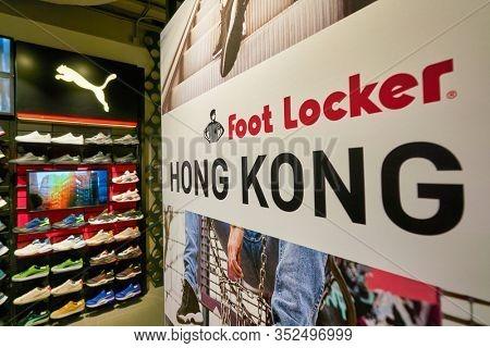 HONG KONG, CHINA - CIRCA JANUARY, 2019: close up shot of Foot Locker sign seen at a store in Hong Kong. Foot Locker Retail, Inc. is an American sportswear and footwear retailer.