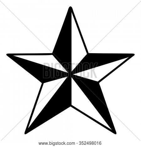 tattoo in black line style of a star
