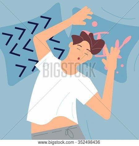 Young Man Character Is Lying On Back And Sound Asleep. Sleep Control Concept. Flat Art Vector Illust