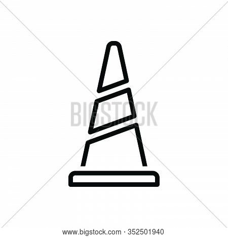 Black Line Icon For Cone Safety Traffic Road Construction Caution Alert Barrier Boundary Danger