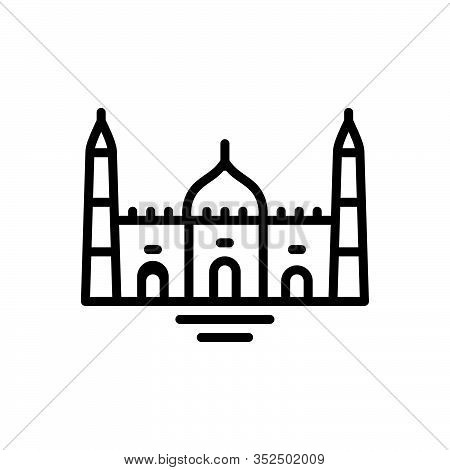Black Line Icon For  Mosque Belief Believe Faith Holy Building Catholic Religion Muslim Traditional