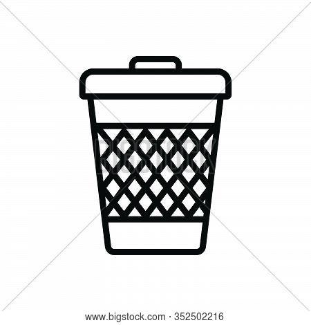 Black Line Icon For Trash-can Trash Can Garbage Waste Basket Container Junk Debris Detritus Rubbish