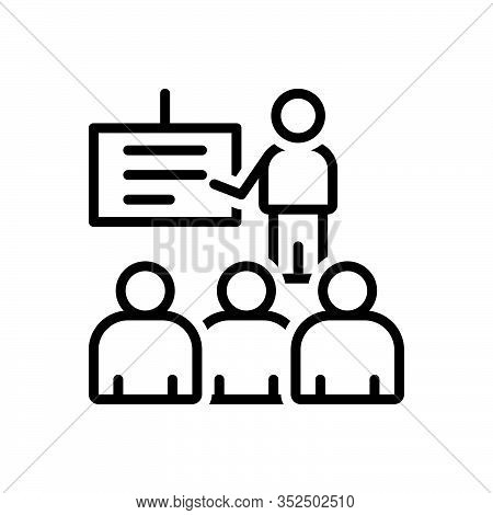 Black Line Icon For Presentation Display Demonstration Show Exhibit Signalize  Audience Viewer Spect