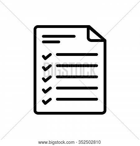 Black Line Icon For Agenda Itinerary Daytimer Program Schedule Checklist Notes Task List