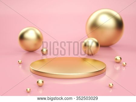 Gold pedestal with gold spheres scattered around, in pink studio. 3D render
