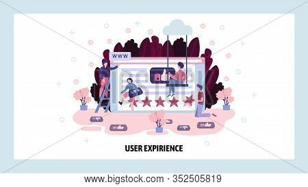 User Experience And Social Reviews. Digital Social Media Marketing, Web Wireframe, Star Rating, Team