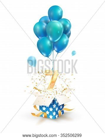 Open Textured Gift Box With Number 7 Th Flying On Balloons. Seven Years Celebrations. Greeting Of Se