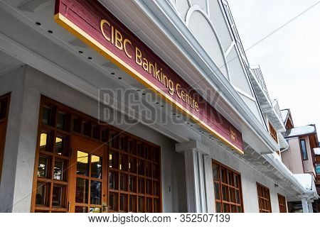 Banff, Canada - Feb 15, 2020 : The Canadian Imperial Bank Of Commerce, Commonly Known As Cibc, With