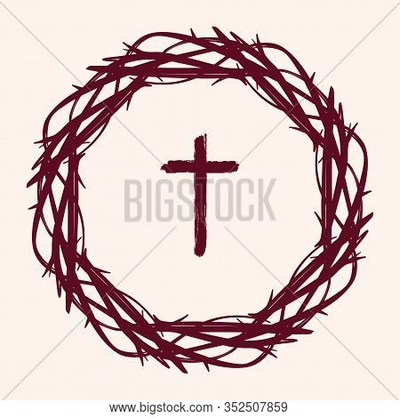 Crown Of Thorns And Cross, Easter Religious Symbol Of Christianity Hand Drawn Vector Illustration Sk