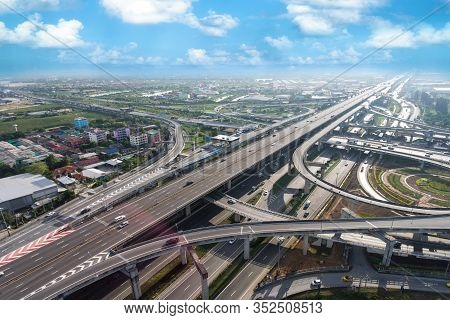 Highway Road Junction From Aerial View. Transportation And Infrastructure Concept.