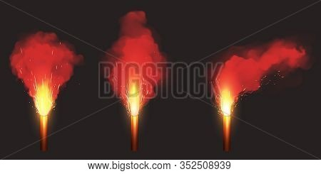 Burn Red Flare, Signal Light For Emergency On Road Or Sea. Vector Realistic Set Of Glowing Torch Wit