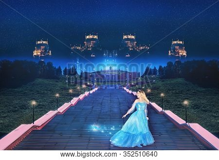 Beautiful Princess Cinderella Runs Away From The Ball And Lost Her Crystal Slipper. Art Processing.