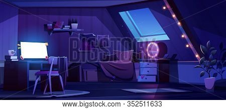 Girl Bedroom Interior On Attic At Night. Vector Cartoon Mansard Teenager Room With Unmade Bed, Glowi