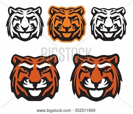 Tiger Head Vector Icons, Wild Predatory Cat Mascot. Bengal Tiger Face Of Hunting, Sport And Zoo Symb
