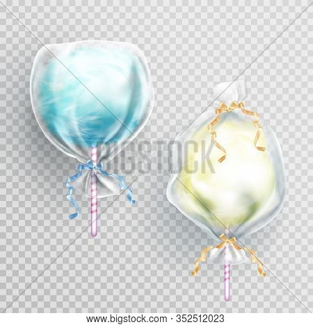 Cotton Candy In Package Bag Isolated On Transparetn Background. Vector Realistic Set Of Blue And Yel