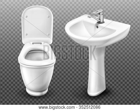 Toilet Bowl And Sink For Bathroom, Restroom, Modern Wc. Vector Realistic White Ceramic Wash Basin Wi