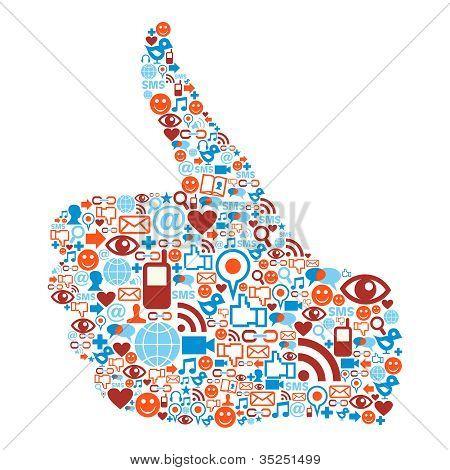 Thumb Up Social Media Icons Hand