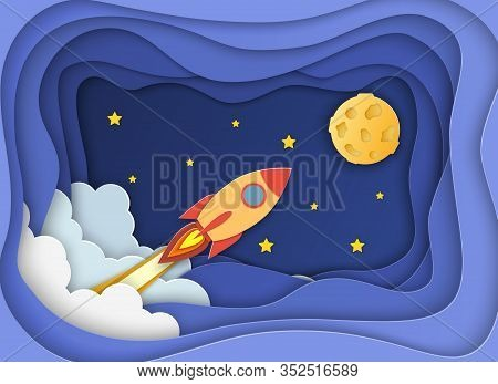 Rocket Launch To The Moon.paper Cut Startup Poster Template With Space Rocket. Concept Business Idea