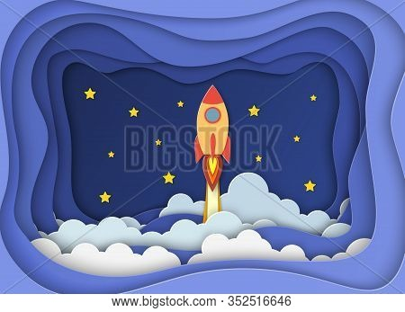 Rocket For Startup Business Project. Paper Cut Startup Poster Template With Space Rocket. Concept Bu