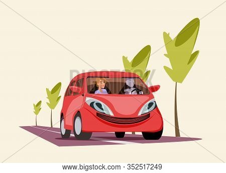 Robot Driving Car Flat Vector Illustration. Cartoon Cyborg In Driving Seat With Female Passenger In