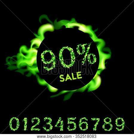 90 Percent Sale. Green Neon Fire Design On Black Background. Vector Illustration