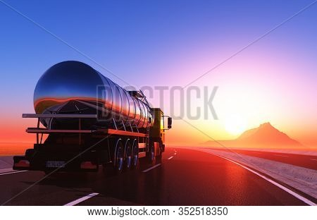 Truck driven by fuel on the road. ,3d render