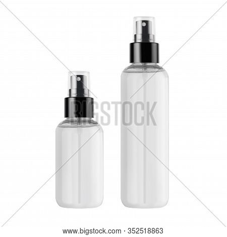 Tall, Low Transparent Spray Dispenser Bottle For Cosmetics With Liquid, Isolated, Mock Up For Brandi