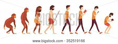 Gadget Addiction Problem Flat Vector Illustration. Primates, Primitive And Modern Men Cartoon Charac