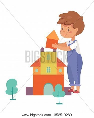 Boy Building House Flat Vector Illustration. Primary School, Elementary Grade, Kindergarten Pupil Ca