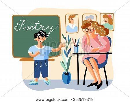 Schoolboy Tells Poem Flat Vector Illustration. Little Boy And Young Teacher In Classroom Cartoon Cha