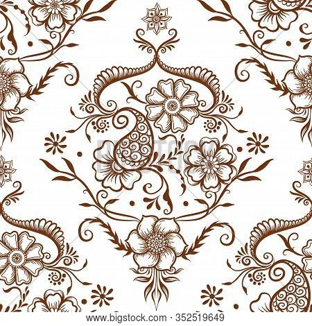 Eastern Ethnic Style Compositions, Mehendi, Traditional Indian Henna Floral Ornament. Seamless Patte