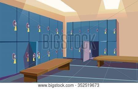 Empty Gym Dressing Room Flat Vector Illustration. Fitness Center, Sport Club Locker Room Interior Wi