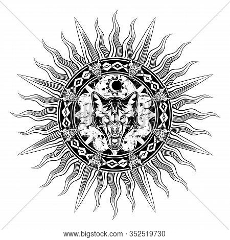 Black Tribal Tattoo. Vector Image Of A Furious Wolf. Nordic Grunge Style. Sun And Moon. Animal Symbo