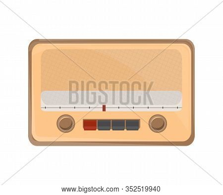 Old Fashioned Radio Flat Vector Illustration. Vintage Audio Appliance With Knobs. Retro Sound Electr