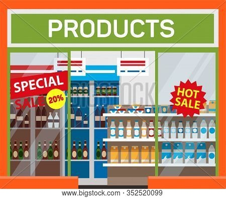 Supermarket, Products Sale Banner Vector Template. Special Shopping Event, Discount Offer. Wholesale