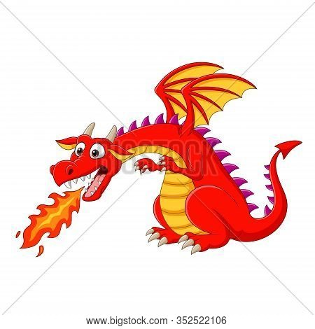 Vector Illustration Of Cartoon Red Dragon Spitting Fire
