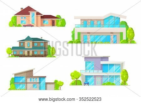 Private Houses And Homes, Residential Real Estate Vector Flat Facade Icons. Modern Family House, Lux