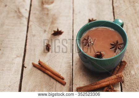 Masala Chai With Spices. Cinnamon Stick, Thai Cardamom, Star Anise, Black Peppercorns, Fennel Seeds