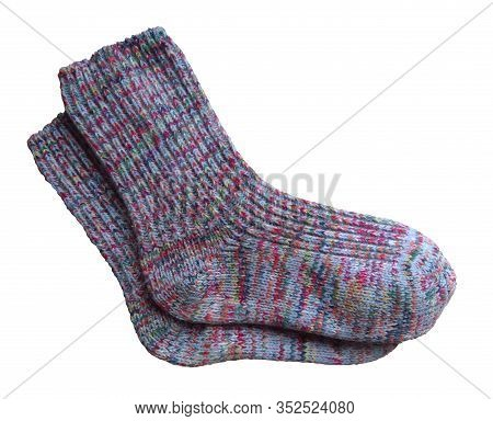 Pair Of Woolen Socks Isolated On White Background. Clipping Path Included.