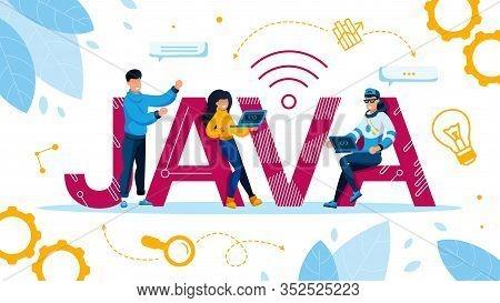 Special Programming Language And Computing Platform Advertisement. People Programmer Freelancer Usin
