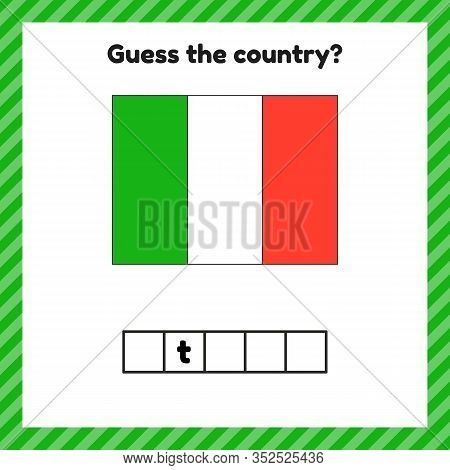Worksheet On Geography For Preschool And School Kids. Crossword. Italy Flag. Cuess The Country.