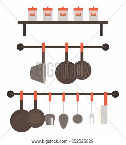 Set Of Pans, Skillet And Cutlery Isolated On White Background. Utensil Used To Hold And Cook Ingredi