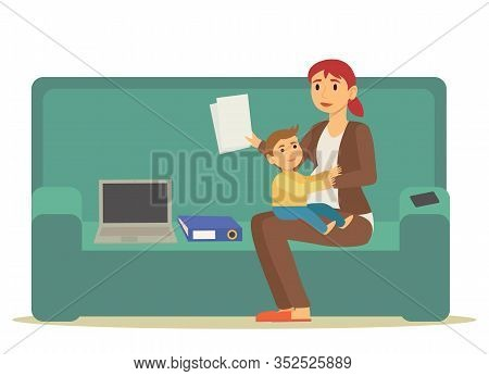 Mother Character Sitting With Kid On Sofa And Working. Freelancer Mom Communicating With Laptop And
