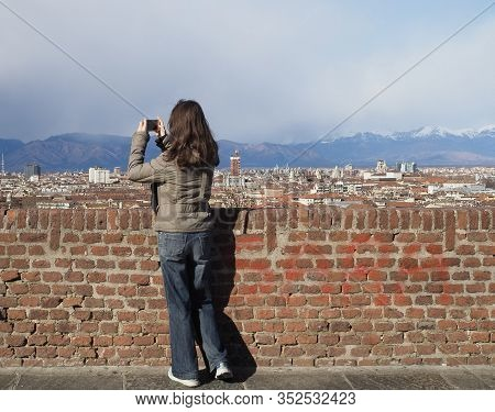 Woman Looking At City Of Turin In Turin