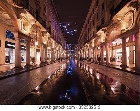 Via Roma Street In Turin