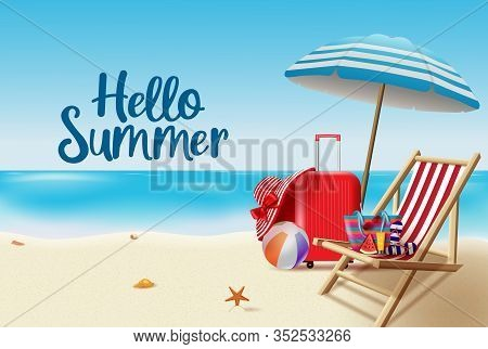 Hello Summer Vector Background Design. Hello Summer Greeting Text In Seashore Background With Beach