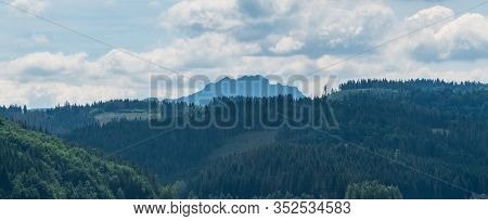 Rocky Velky Rozsutec Hill From Nova Bystrica Water Reservoir Dam In Slovakia During Nice Summer Day