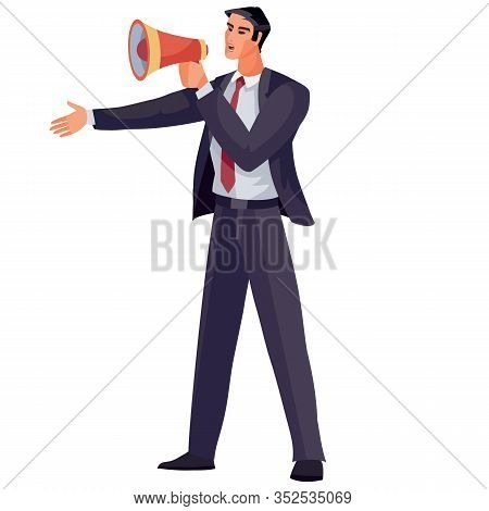 Businessman Dressed In A Business Blue Suit And Holding A Shout In His Hands And Shouting Through It